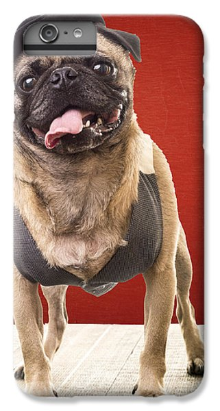 Pug iPhone 7 Plus Case - Cute Pug Dog In Vest And Top Hat by Edward Fielding
