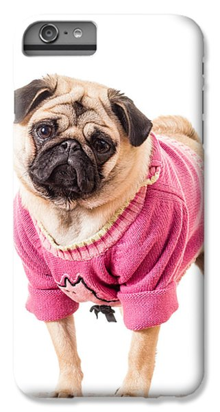 Pug iPhone 7 Plus Case - Cute Pug Wearing Sweater by Edward Fielding
