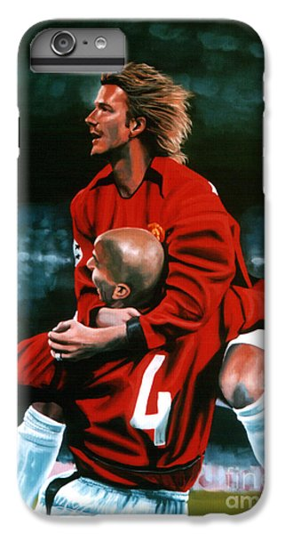 Athletes iPhone 7 Plus Case - David Beckham And Juan Sebastian Veron by Paul Meijering