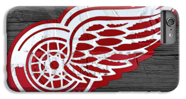 Hockey iPhone 7 Plus Case - Detroit Red Wings Recycled Vintage Michigan License Plate Fan Art On Distressed Wood by Design Turnpike
