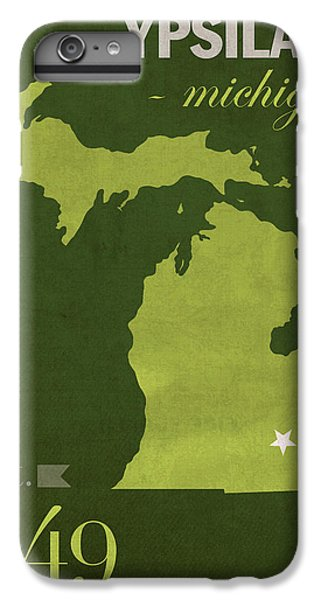 Emu iPhone 7 Plus Case - Eastern Michigan University Eagles Ypsilanti College Town State Map Poster Series No 035 by Design Turnpike