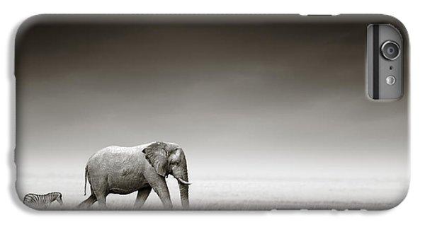 Nature iPhone 7 Plus Case - Elephant With Zebra by Johan Swanepoel