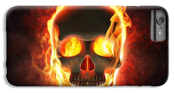 Magician iPhone 7 Plus Case - Evil Skull In Flames And Smoke by Johan Swanepoel