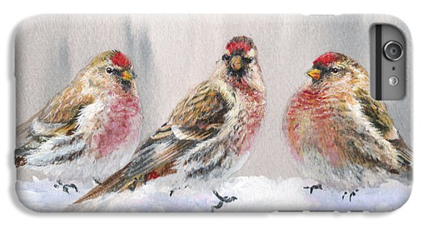 Snowy Birds - Eyeing The Feeder 2 Alaskan Redpolls In Winter Scene IPhone 7 Plus Case
