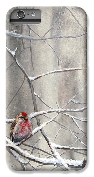 Crossbill iPhone 7 Plus Case - Eyeing The Feeder Alaskan Redpoll In Winter by Karen Whitworth