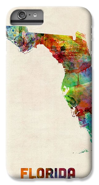 Miami iPhone 7 Plus Case - Florida Watercolor Map by Michael Tompsett
