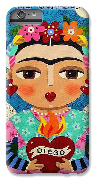 The Moon iPhone 7 Plus Case - Frida Kahlo Angel And Flaming Heart by LuLu Mypinkturtle