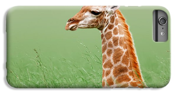 Giraffe Lying In Grass IPhone 7 Plus Case by Johan Swanepoel