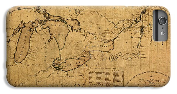 Lake Superior iPhone 7 Plus Case - Great Lakes And Canada Vintage Map On Worn Canvas Circa 1812 by Design Turnpike