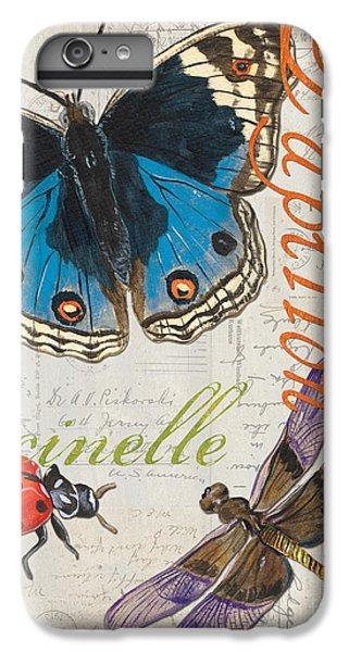 Ladybug iPhone 7 Plus Case - Grey Postcard Butterflies 4 by Debbie DeWitt