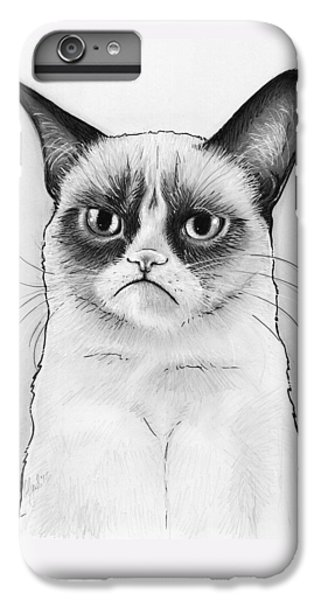 Cat iPhone 7 Plus Case - Grumpy Cat Portrait by Olga Shvartsur