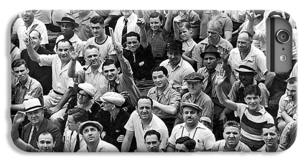 Happy Baseball Fans In The Bleachers At Yankee Stadium. IPhone 7 Plus Case by Underwood Archives