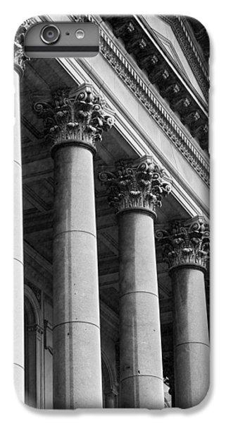 Capitol Building iPhone 7 Plus Case - Illinois Capitol Columns B W by Steve Gadomski
