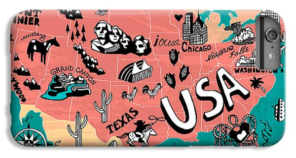 Ship iPhone 7 Plus Case - Illustrated Map Of Usa by Daria i