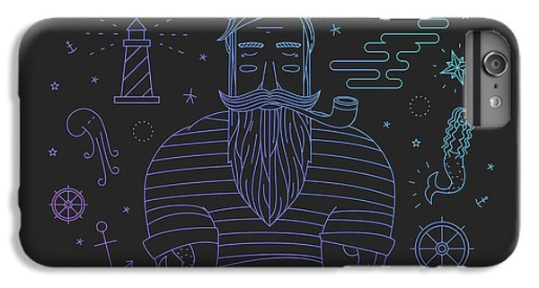 Ship iPhone 7 Plus Case - Illustration Of Sailor With Pipe Dreams by Fay Francevna