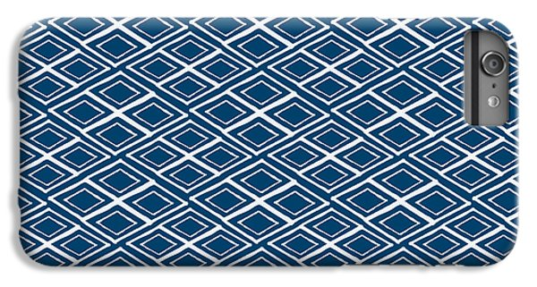 Blue iPhone 7 Plus Case - Indigo And White Small Diamonds- Pattern by Linda Woods