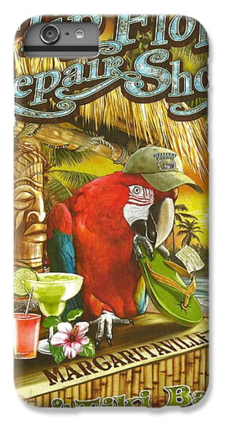 Parrot iPhone 7 Plus Case - Jimmy Buffett's Flip Flop Repair Shop by Desiderata Gallery