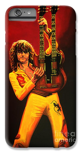 U2 iPhone 7 Plus Case - Jimmy Page Painting by Paul Meijering