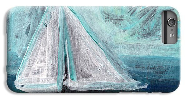 Sailboat iPhone 7 Plus Case - Little Sailboat- Expressionist Painting by Linda Woods