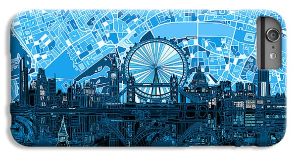 London Skyline Abstract Blue IPhone 7 Plus Case by Bekim Art