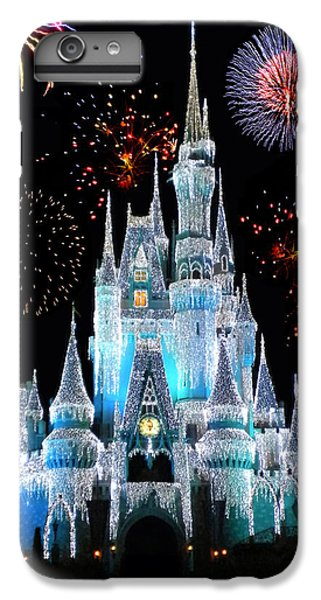 Castle iPhone 7 Plus Case - Magic Kingdom Castle In Frosty Light Blue With Fireworks 06 by Thomas Woolworth