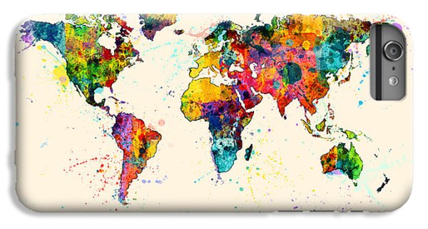 Planets iPhone 7 Plus Case - Map Of The World Map Watercolor by Michael Tompsett