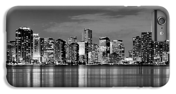 Miami iPhone 7 Plus Case - Miami Skyline At Dusk Black And White Bw Panorama by Jon Holiday