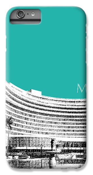 Miami Skyline iPhone 7 Plus Case - Miami Skyline Fontainebleau Hotel - Teal by DB Artist