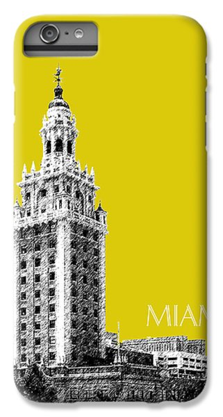 Miami Skyline iPhone 7 Plus Case - Miami Skyline Freedom Tower - Mustard by DB Artist