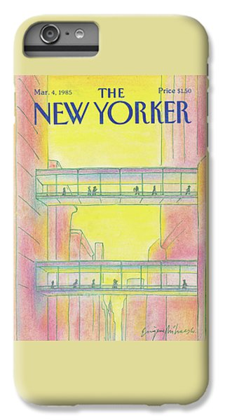City Sunset iPhone 7 Plus Case - New Yorker March 4th, 1985 by Eugene Mihaesco