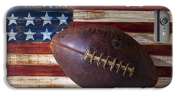 Sports iPhone 7 Plus Case - Old Football On American Flag by Garry Gay