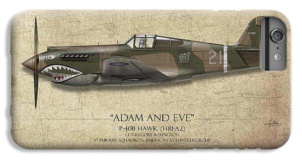 Hawk iPhone 7 Plus Case - Pappy Boyington P-40 Warhawk - Map Background by Craig Tinder