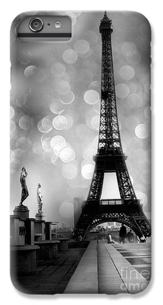 Paris iPhone 7 Plus Case - Paris Eiffel Tower Surreal Black And White Photography - Eiffel Tower Bokeh Surreal Fantasy Night  by Kathy Fornal