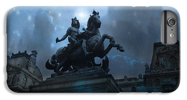 Paris Louvre Museum Blue Starry Night - King Louis Xiv Monument At Louvre Museum IPhone 7 Plus Case by Kathy Fornal