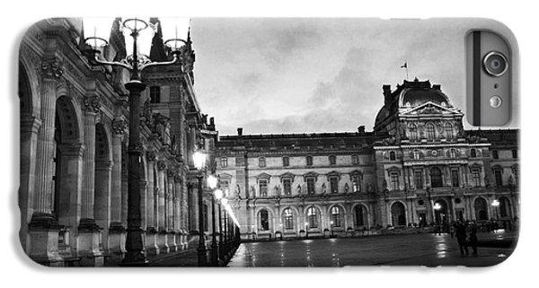 Paris Louvre Museum Lanterns Lamps - Paris Black And White Louvre Museum Architecture IPhone 7 Plus Case by Kathy Fornal