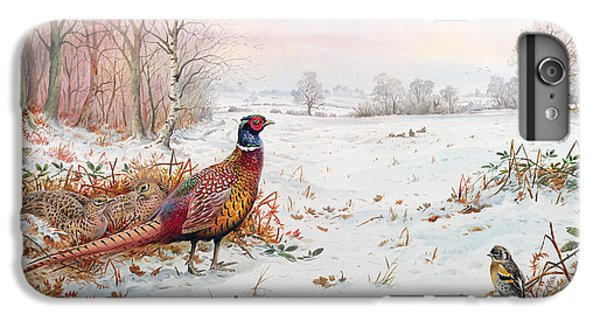 Pheasant And Bramblefinch In The Snow IPhone 7 Plus Case by Carl Donner