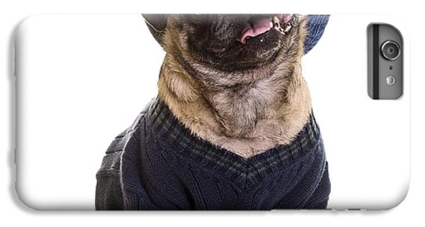 Pug iPhone 7 Plus Case - Pug In Sweater And Hat by Edward Fielding