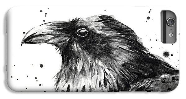 Crow iPhone 7 Plus Case - Raven Watercolor Portrait by Olga Shvartsur