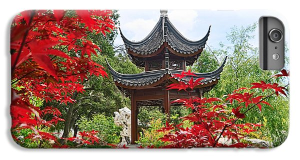 Garden iPhone 7 Plus Case - Red - Chinese Garden With Pagoda And Lake. by Jamie Pham