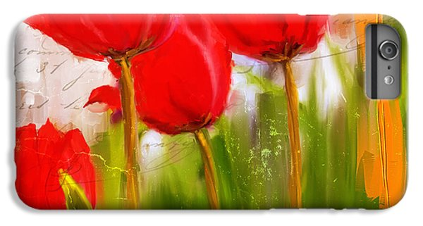 Red Enigma- Red Tulips Paintings IPhone 7 Plus Case by Lourry Legarde