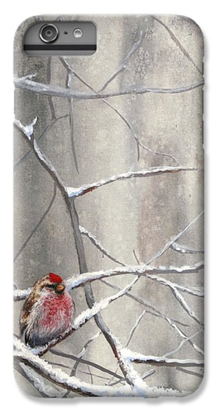 Crossbill iPhone 7 Plus Case - Redpoll Eyeing The Feeder - 1 by Karen Whitworth