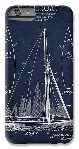 Boats iPhone 7 Plus Case - Sailboat Patent Drawing From 1927 by Aged Pixel
