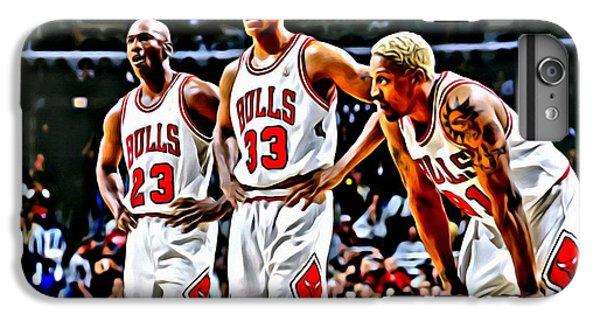 Michael Jordan iPhone 7 Plus Case - Scottie Pippen With Michael Jordan And Dennis Rodman by Florian Rodarte