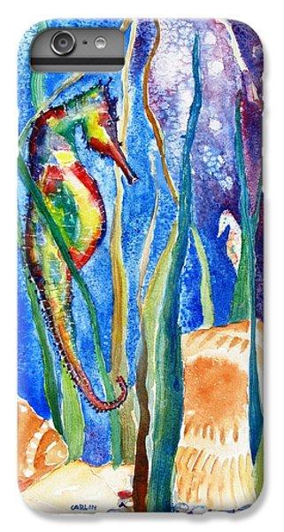 Seahorse iPhone 7 Plus Case - Seahorse And Shells by Carlin Blahnik CarlinArtWatercolor