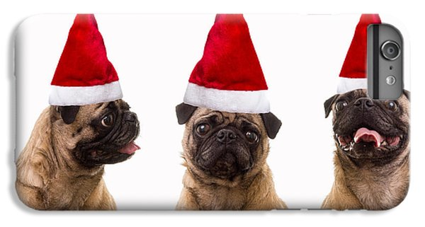 Pug iPhone 7 Plus Case - Seasons Greetings Christmas Caroling Pug Dogs Wearing Santa Claus Hats by Edward Fielding