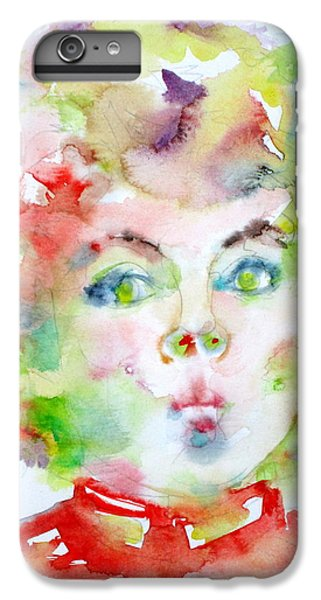 Shirley Temple - Watercolor Portrait.2 IPhone 7 Plus Case by Fabrizio Cassetta