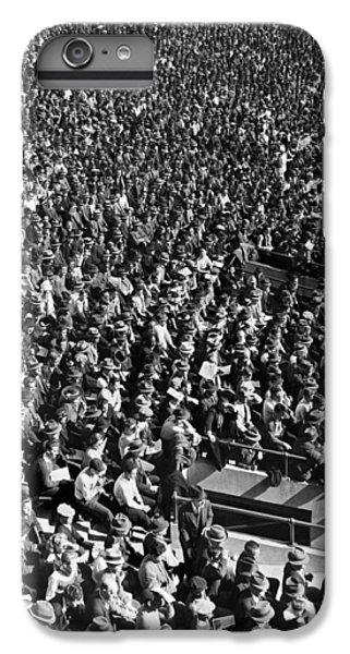 Yankee Stadium iPhone 7 Plus Case - Baseball Fans At Yankee Stadium In New York   by Underwood Archives