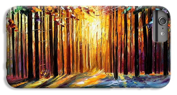 Afremov iPhone 7 Plus Case - Sun Of January - Palette Knife Landscape Forest Oil Painting On Canvas By Leonid Afremov by Leonid Afremov