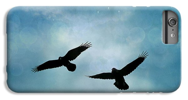 Surreal Ravens Crows Flying Blue Sky Stars IPhone 7 Plus Case by Kathy Fornal