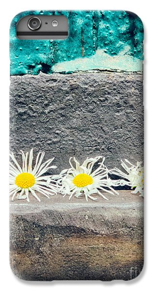IPhone 7 Plus Case featuring the photograph Three Daisies Stuck In A Door by Silvia Ganora